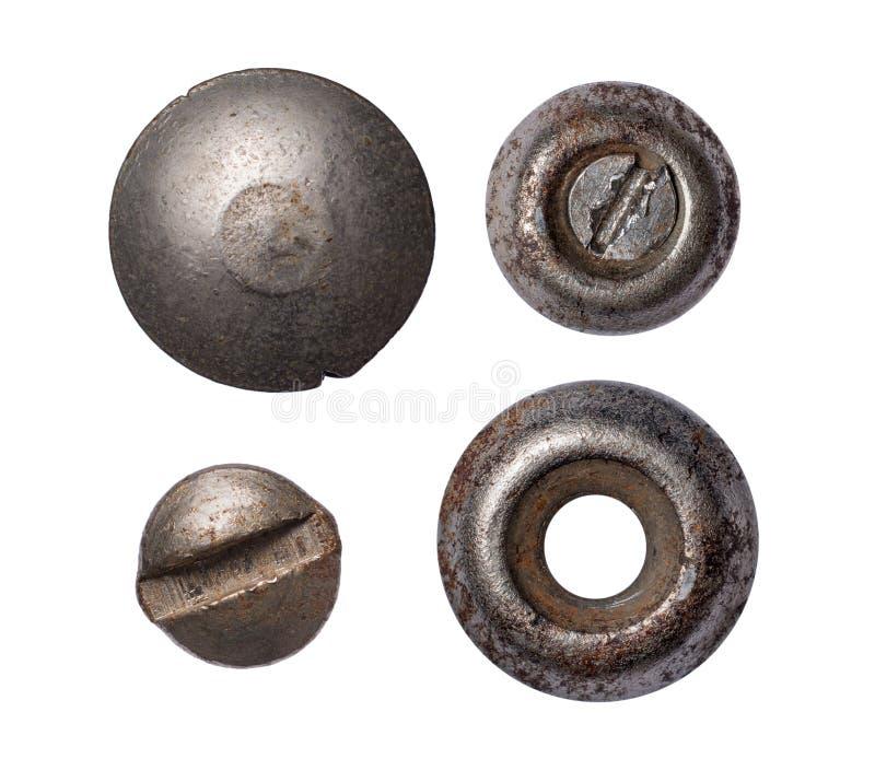Placez du vieux rivet et têtes rouillés en métal images libres de droits