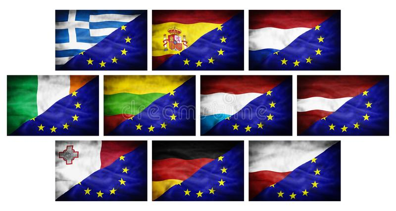 Placez (grands différents drapeaux nationaux de partie 2) mélangés au drapeau d'Union européenne illustration stock