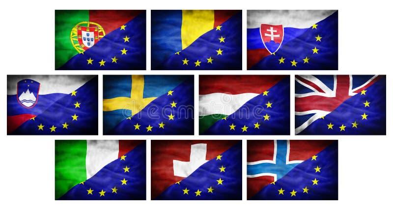 Placez (grands différents drapeaux nationaux de partie 3) mélangés au drapeau d'Union européenne illustration libre de droits