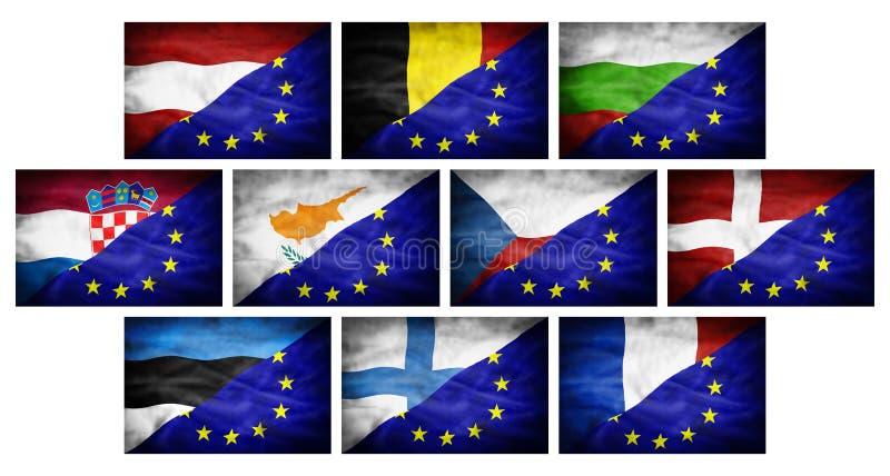 Placez (grands différents drapeaux nationaux de partie 1) mélangés au drapeau d'Union européenne illustration libre de droits