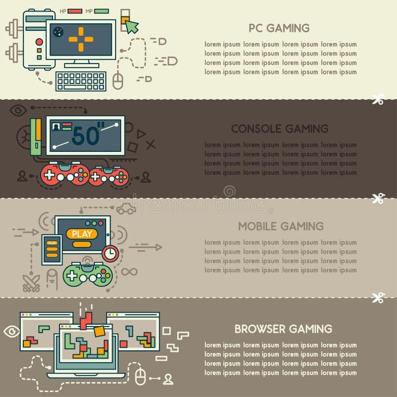 Placez huit de bannières de technologie d'Internet illustration stock
