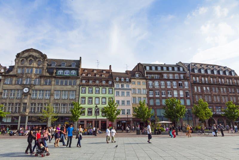 Placez Kleber, la place centrale de Strasbourg, France image libre de droits