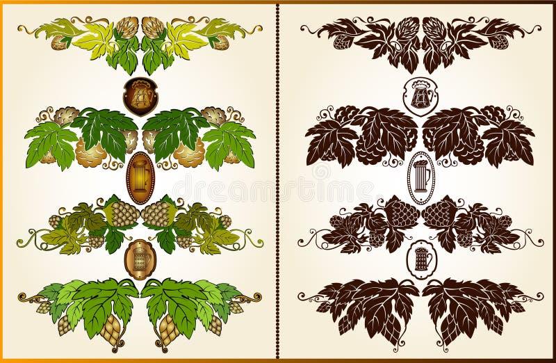 Placez l'élément de silhouette de modèle de bière d'houblon illustration stock