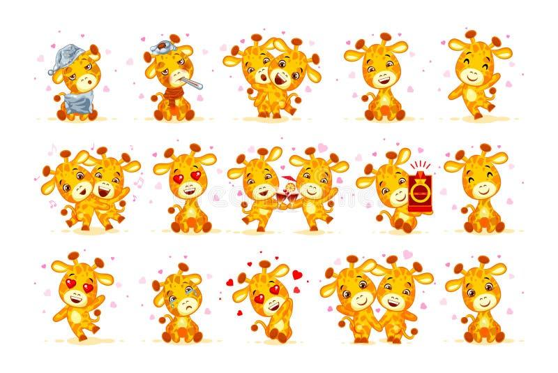 Placez l'émoticône d'autocollants de girafe de bande dessinée de caractère d'Emoji d'isolement par actions de vecteur illustration de vecteur