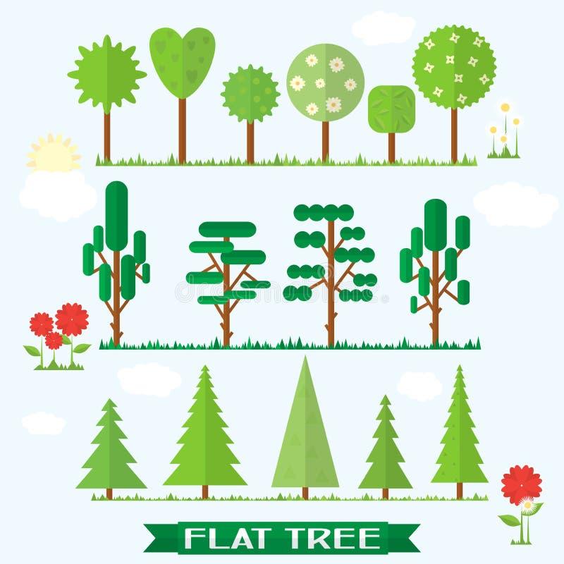Placez l'arbre plat et la fleur illustration libre de droits