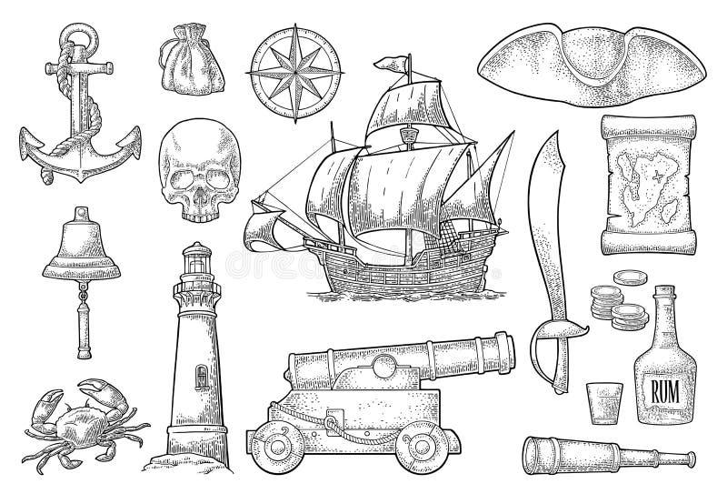 Placez l'aventure de pirate Gravure de vintage de couleur de vecteur illustration libre de droits