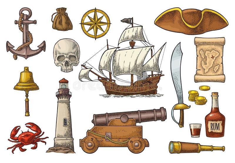 Placez l'aventure de pirate Gravure de vintage de couleur de vecteur illustration de vecteur