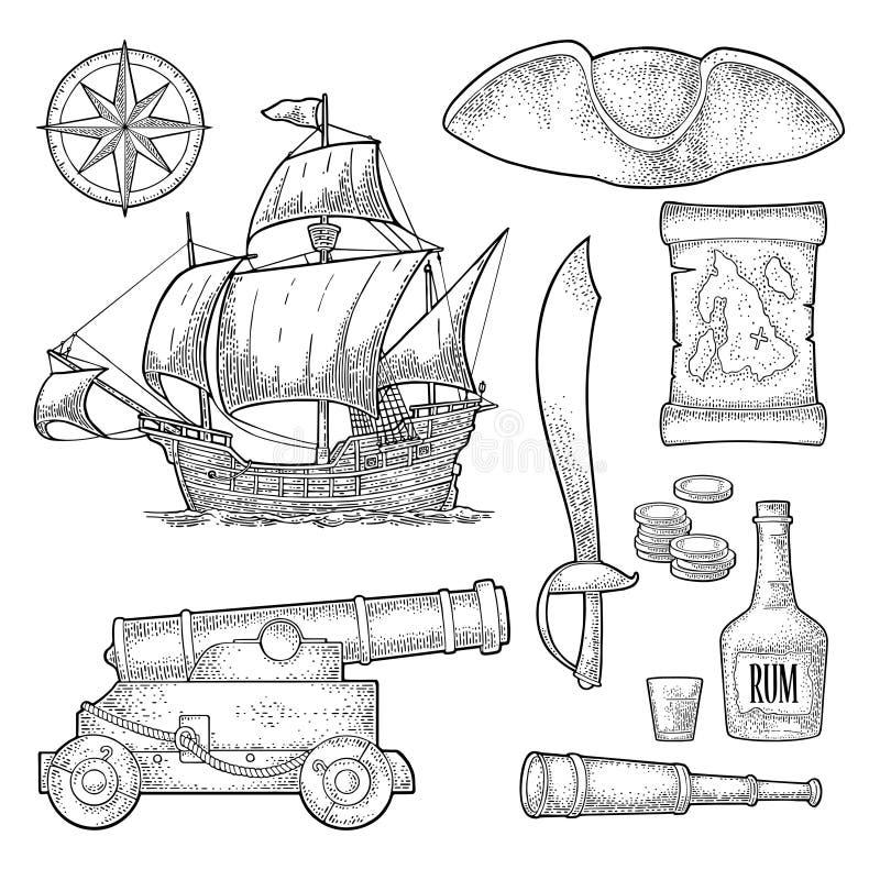 Placez l'aventure de pirate Gravure de vintage de couleur de vecteur illustration stock