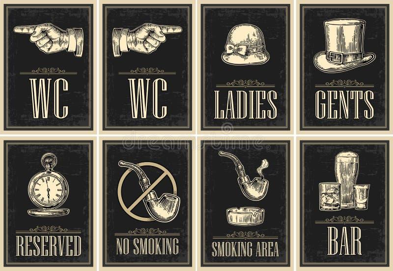 Placez l'enseigne Pointage du doigt Affiche grunge de toilette pour des dames, cents illustration libre de droits