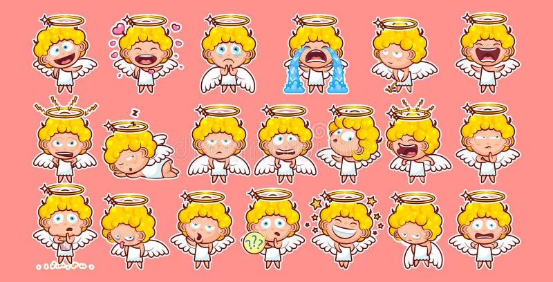 Placez l'entité divine douce de caractère heureux d'illustration de vecteur d'émotion d'émoticône d'emoji d'autocollant de collec illustration stock