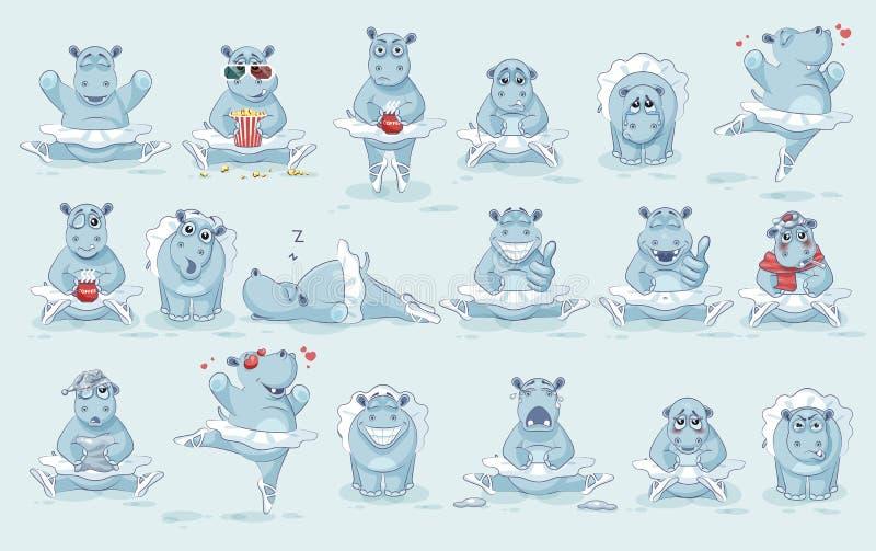 Placez l'hippopotame de ballerine de bande dessinée de caractère d'Emoji de vecteur illustration libre de droits