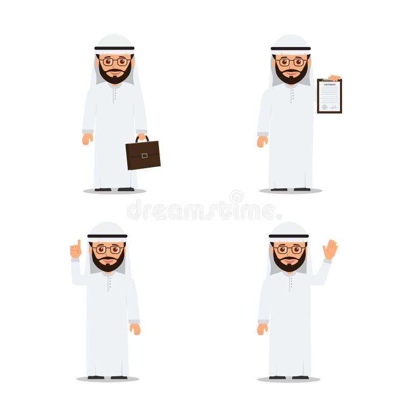 Placez l'homme arabe de caractères dans diverses poses Homme d'affaires arabe Illustration de vecteur dans le style plat illustration libre de droits