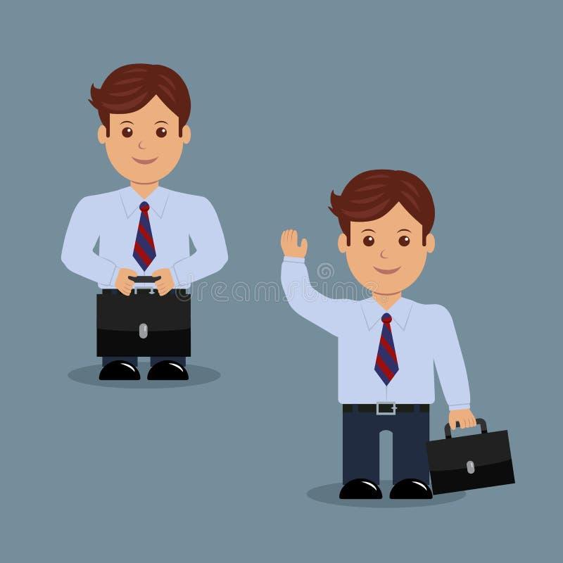Placez l'homme d'affaires avec la serviette dans un grand choix d'activités illustration de vecteur