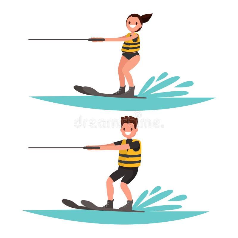 Download Placez L'homme Et La Femme Font Du Ski Nautique Illustration De Vecteur Illustration Stock - Illustration du graphisme, attraction: 76079466