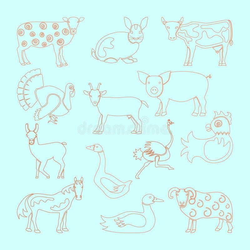 Placez l'icône d'animaux de ferme illustration de vecteur