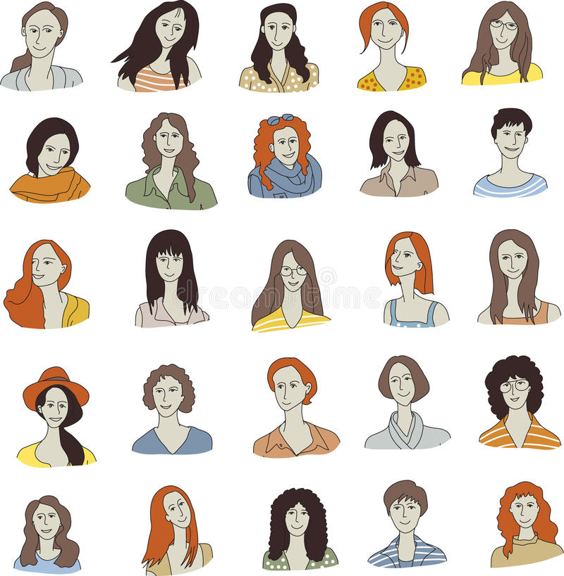 Placez l'icône de visage de femme illustration stock