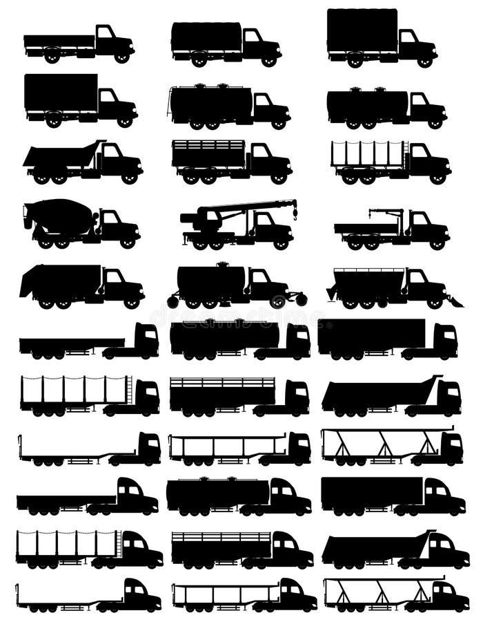 Placez l'illustrati noir de vecteur de silhouette de remorque de camions d'icônes semi illustration de vecteur