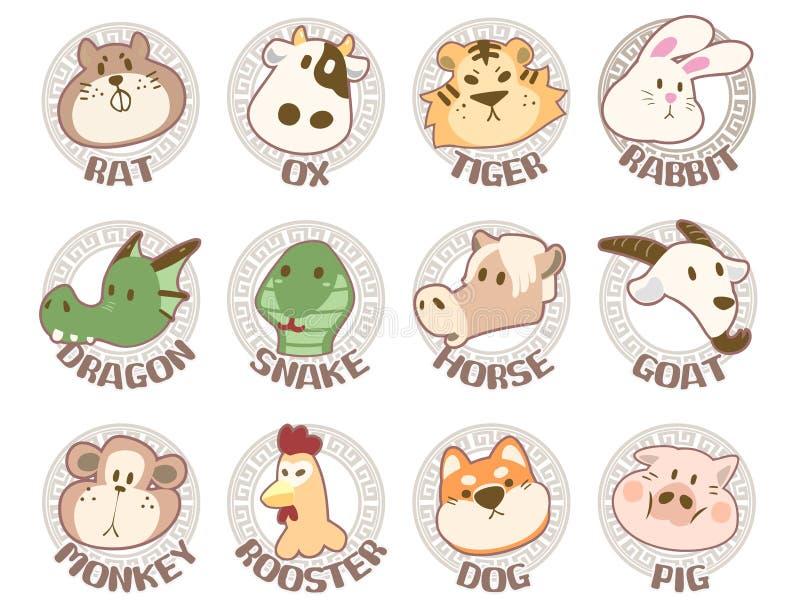 Placez l'illustration avec les signes chinois de zodiaque illustration de vecteur