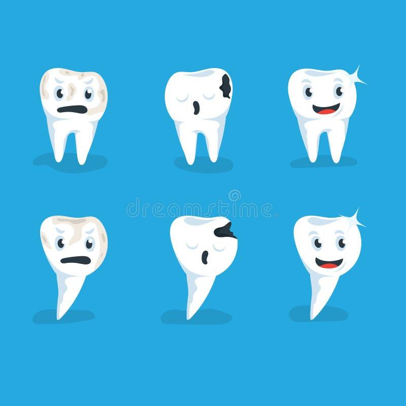 Placez l'illustration de vecteur fond humain sain et de carie de dents de bleu illustration stock