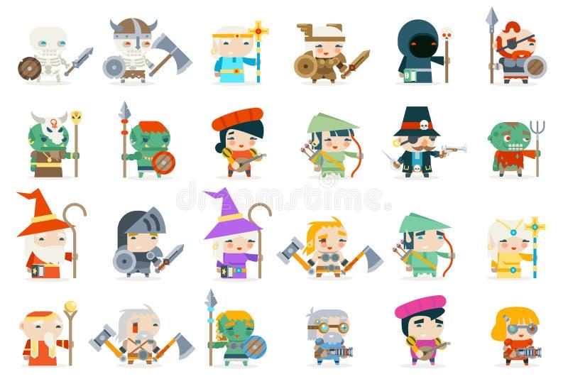 Placez l'illustration plate de vecteur de conception d'icônes de vecteur de caractère de subordonnés de voyous de héros de jeu de illustration libre de droits