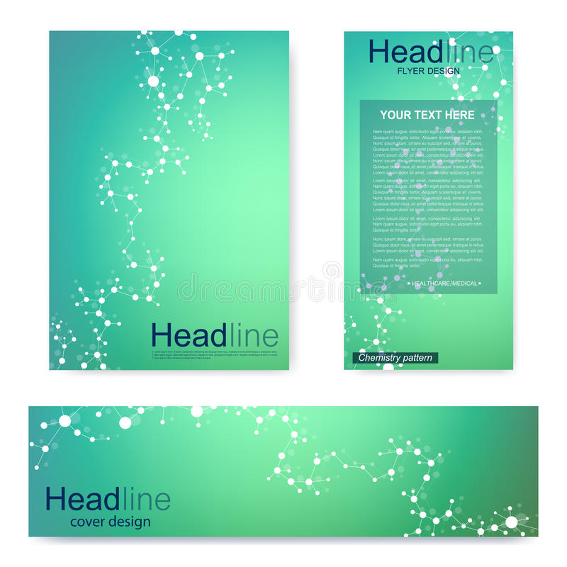 Placez l'insecte, calibre de la taille A4 de brochure, bannière Structure moléculaire avec les lignes et les points reliés Atome  illustration stock