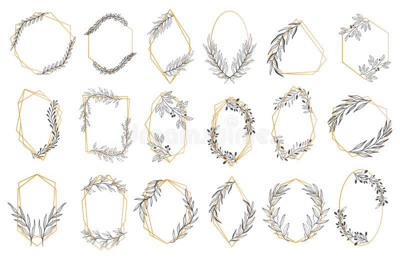 Placez l'invitation florale de cadre Style de dessin de cru Rétro élément élégant, feuilles de guirlande illustration libre de droits