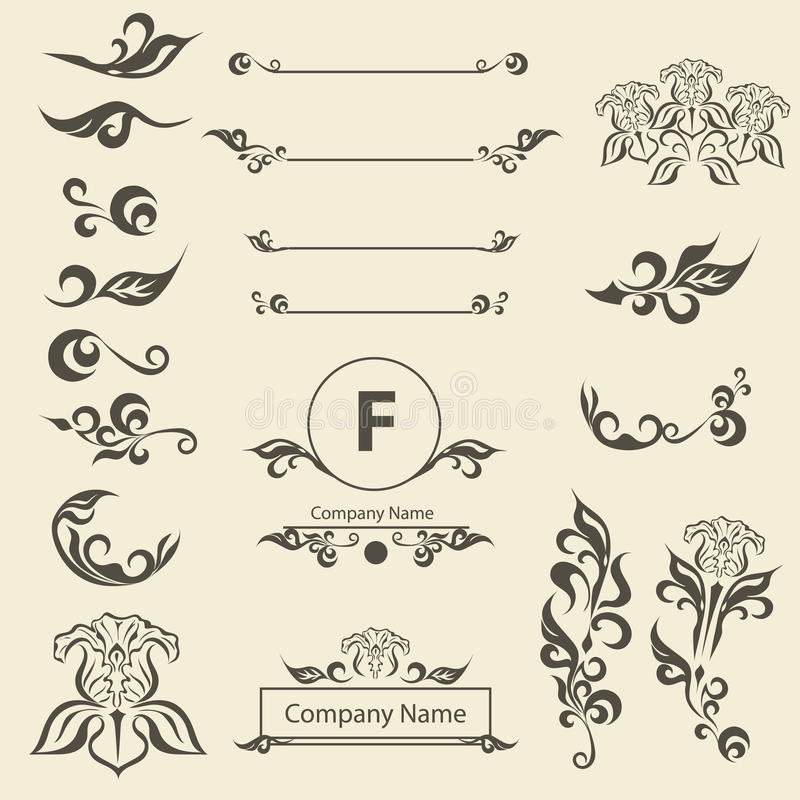 Placez l'ornement d'arabesque d'éléments de décorations de vintage illustration stock