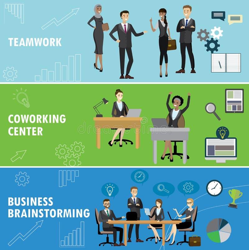 Placez la bannière d'affaires Travail d'équipe, coworking et séance de réflexion de groupe illustration stock