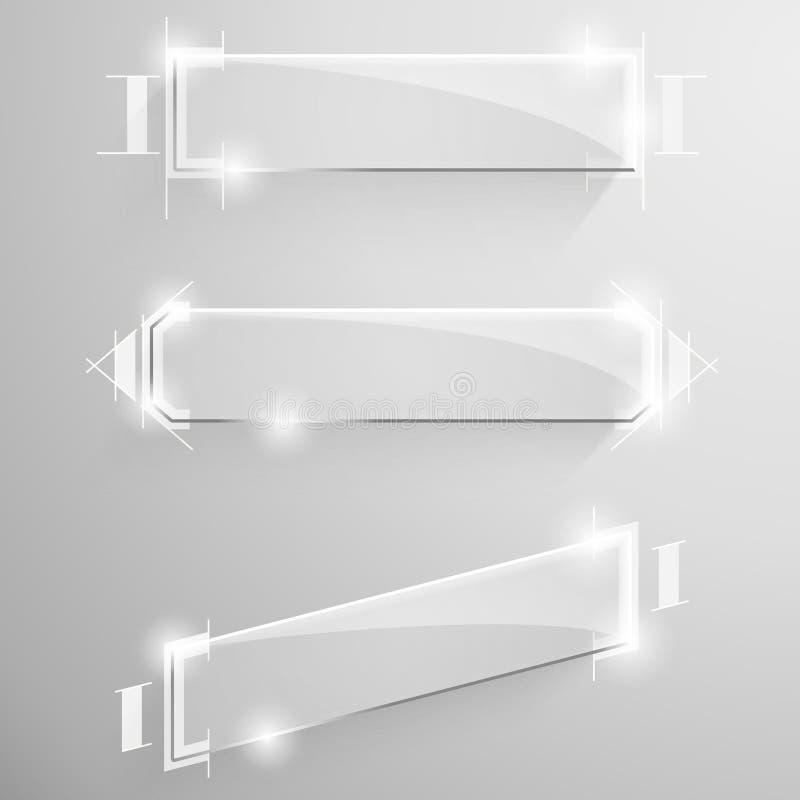 Placez la bannière oblique brillante de vecteur avec la ligne blanche illustration libre de droits
