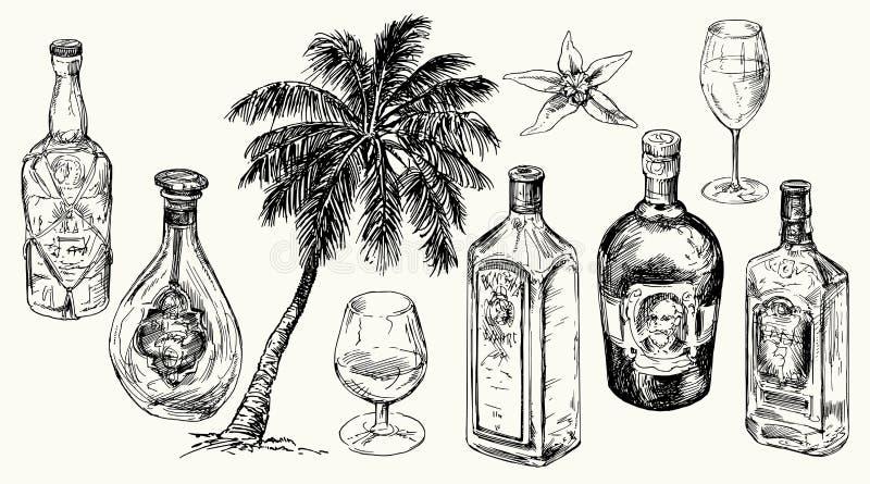 Placez la bouteille pour le rhum illustration de vecteur