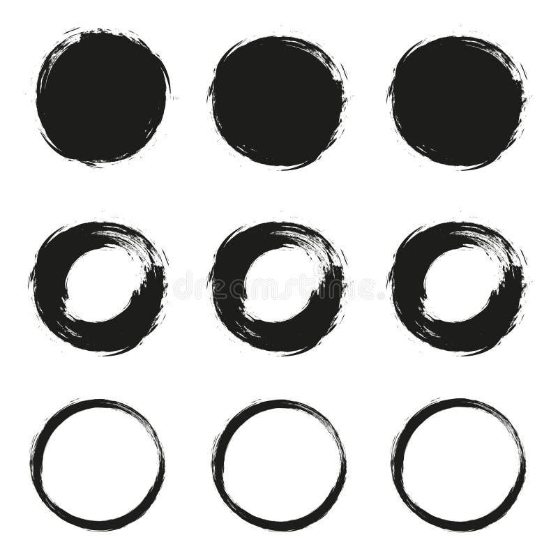 Placez la brosse grunge de cercle sur un fond blanc illustration libre de droits