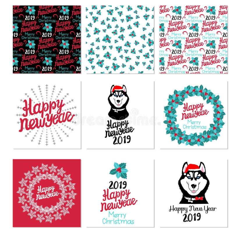 Placez la carte de bonne année et de Joyeux Noël gui sans couture du modèle 3 avec les baies rouges Illustration de vecteur sur l illustration de vecteur