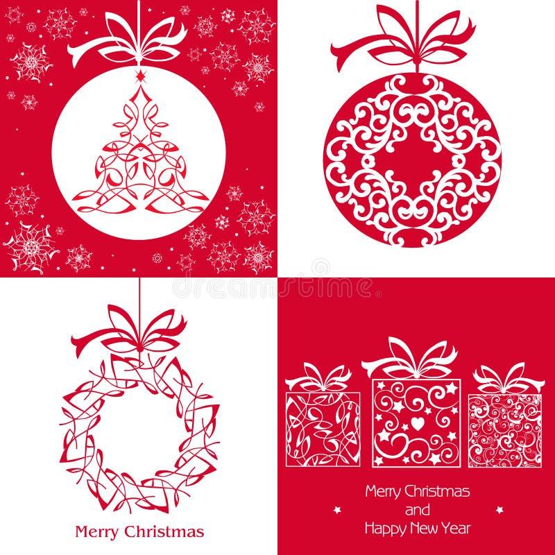 Placez la carte de Noël avec le jouet accrochant Blanc sur le fond rouge Le VE illustration stock