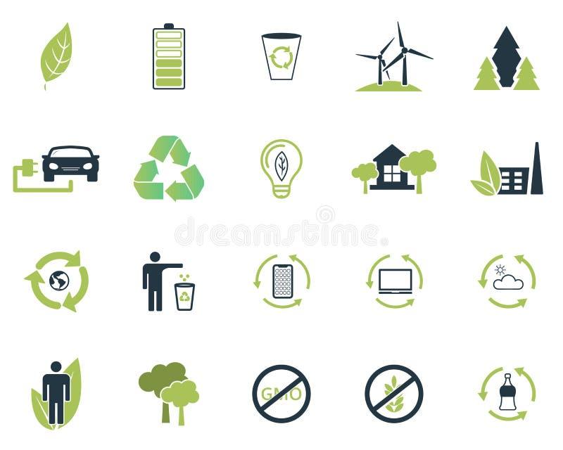 Placez la collection d'icônes d'écologie de vecteur dans des couleurs plates de la conception deux Air pur, article recyclable po illustration de vecteur