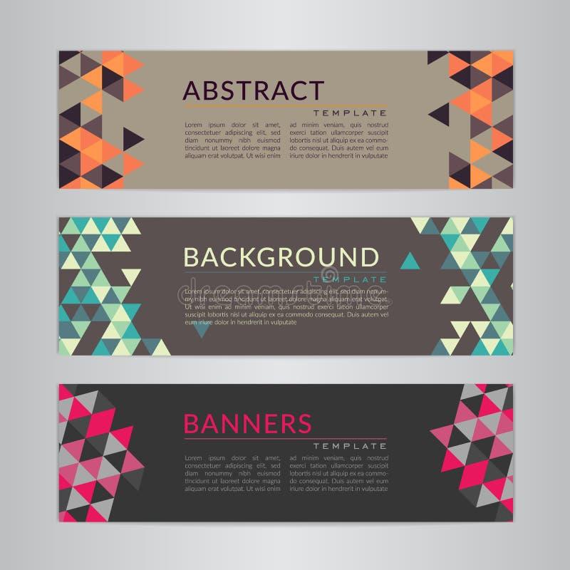 Placez la collection de bannières avec les milieux polygonaux de mosaïque de couleur douce abstraite Modèles triangulaires géomét illustration de vecteur