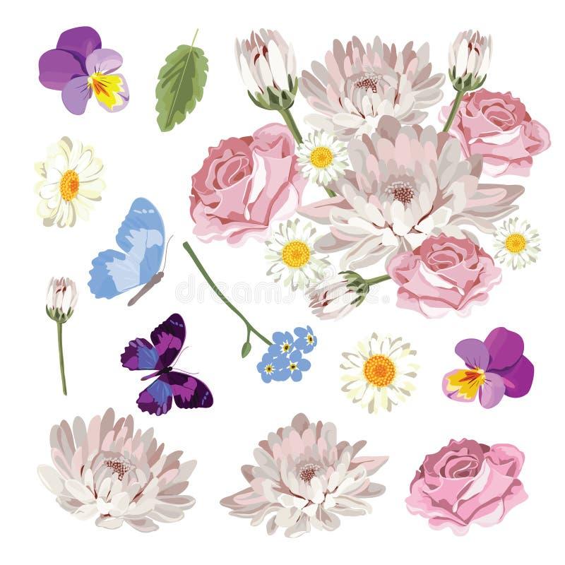 Placez la collection de différentes fleurs d'isolement sur le fond blanc Illustration de vecteur illustration libre de droits
