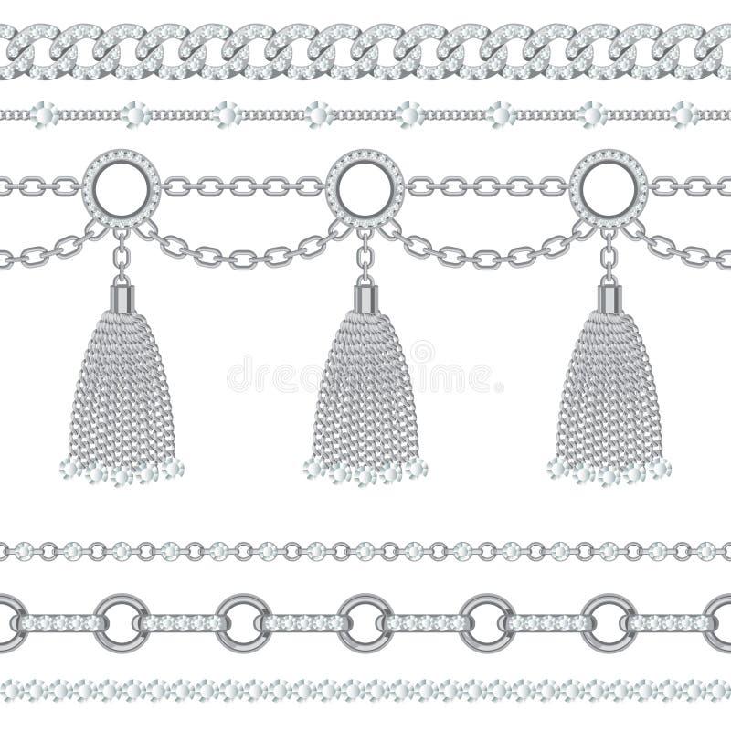 Placez la collection de frontières à chaînes métalliques argentées avec des pierres gemmes et des glands Sur le blanc Illustratio illustration de vecteur