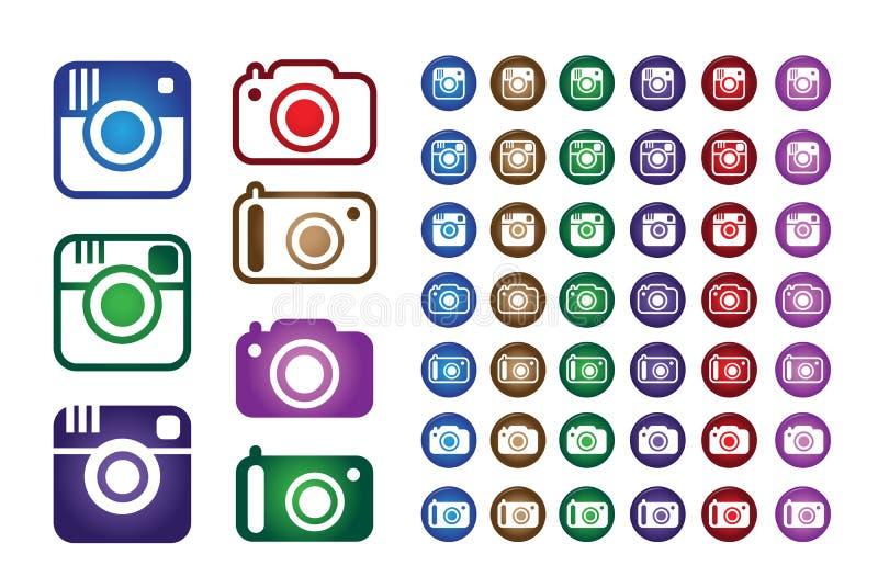 Placez la collection de l'appareil-photo coloré de tendance de hippie illustration de vecteur