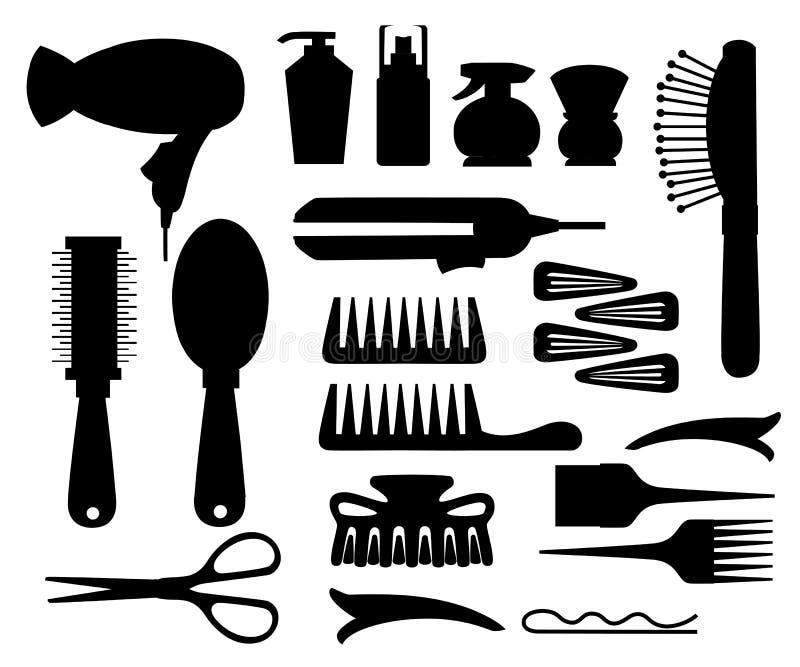 Placez la collection du coiffeur professionnel et l'équipement de coiffeur usine la bouteille et le tube h de peigne de hairdryer illustration libre de droits