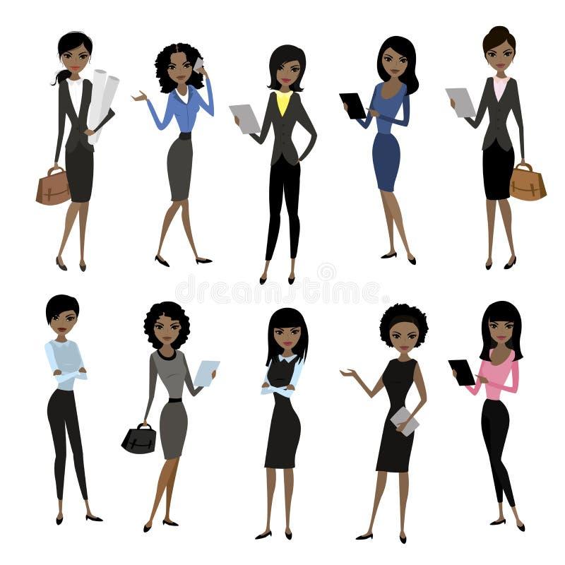 Placez la dame d'affaires d'afro-américain illustration libre de droits