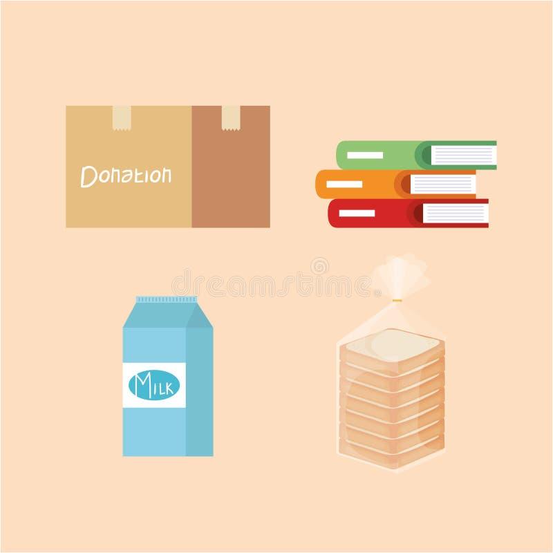 Placez la donation de boîte avec les livres et la boîte et le pain à lait illustration stock