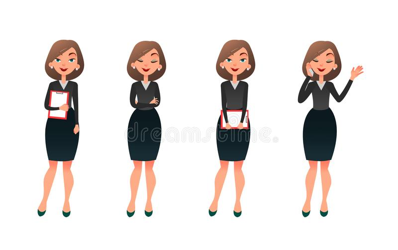 Placez la femme d'affaires de caractère dans diverses poses Secrétaire ou professeur de vecteur de bande dessinée sur différentes illustration libre de droits
