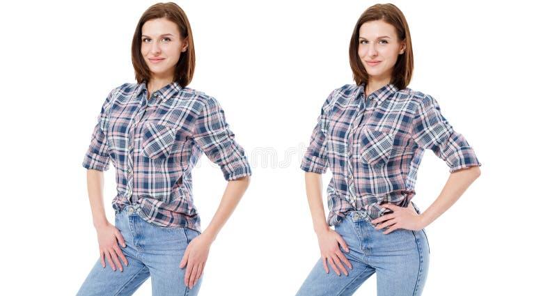Placez la femme dans des vêtements sport d'isolement sur le fond blanc, collage photos stock