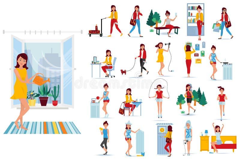 Placez la fille moderne de caractère Jours de la semaine de fille dans différentes situations illustration stock