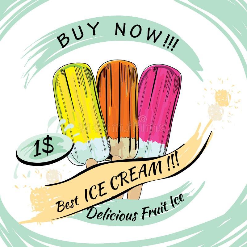 Placez la glace de fruit avec le prix Glace à l'eau sur un fond blanc Popsic illustration stock