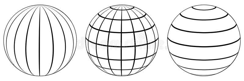Placez la grille de la terre de globe de sphères, longitude de latitude illustration libre de droits