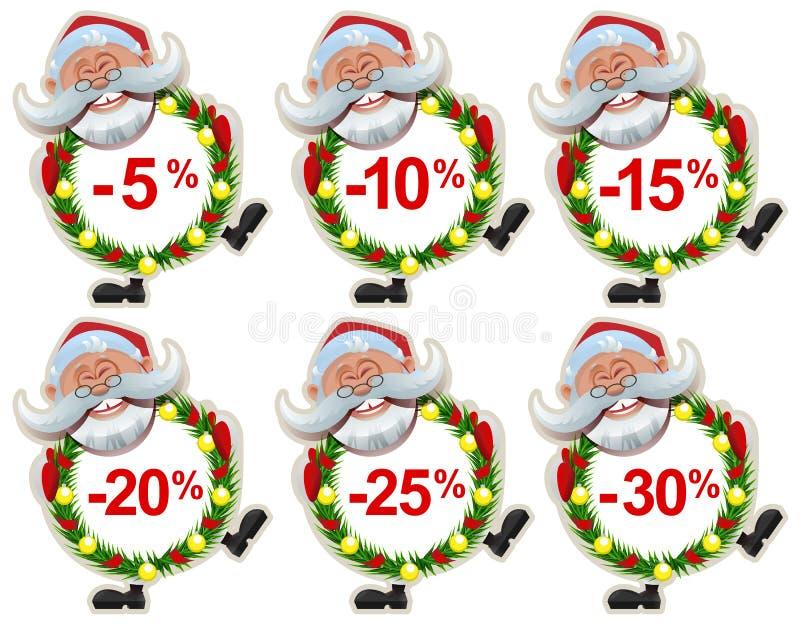 Placez la guirlande de Santa Claus Christmas de label de remise des branches de sapin illustration de vecteur