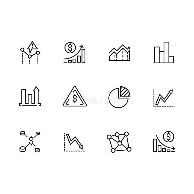Placez la ligne analytics de données d'icônes, stratégie, analyse commerciale et planification des affaires, graphiques financier illustration de vecteur