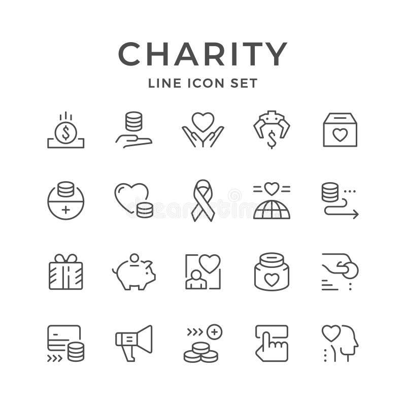 Placez la ligne icônes de la charité illustration libre de droits