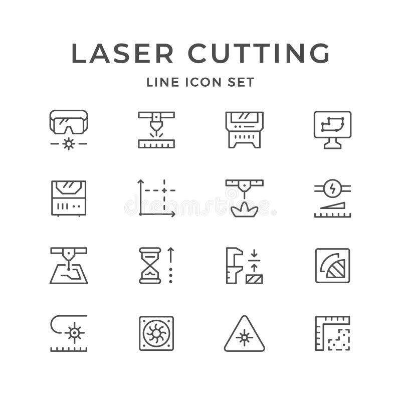 Placez la ligne icônes de la coupe de laser illustration de vecteur